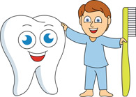 Boy with Toothbrush and Tooth Cartoon